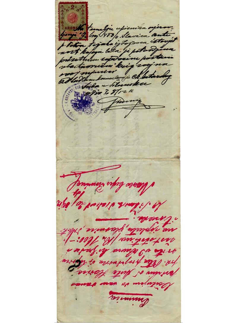Poleđina mjenice - 1912
