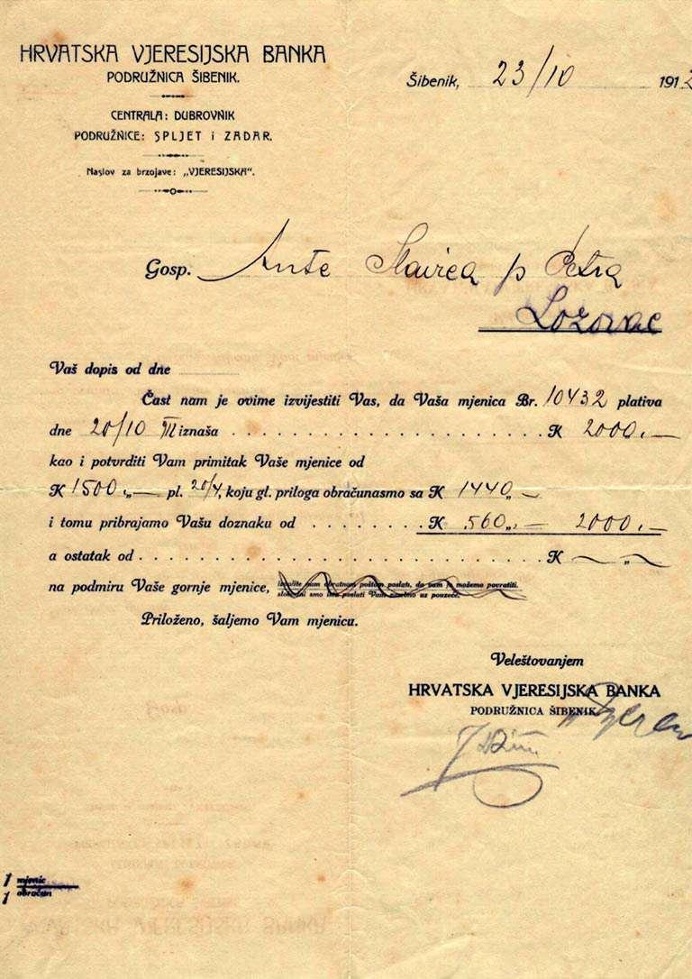 Hrvatska Veresijska banka -Obavijest o dospjeću mjenice - 1912