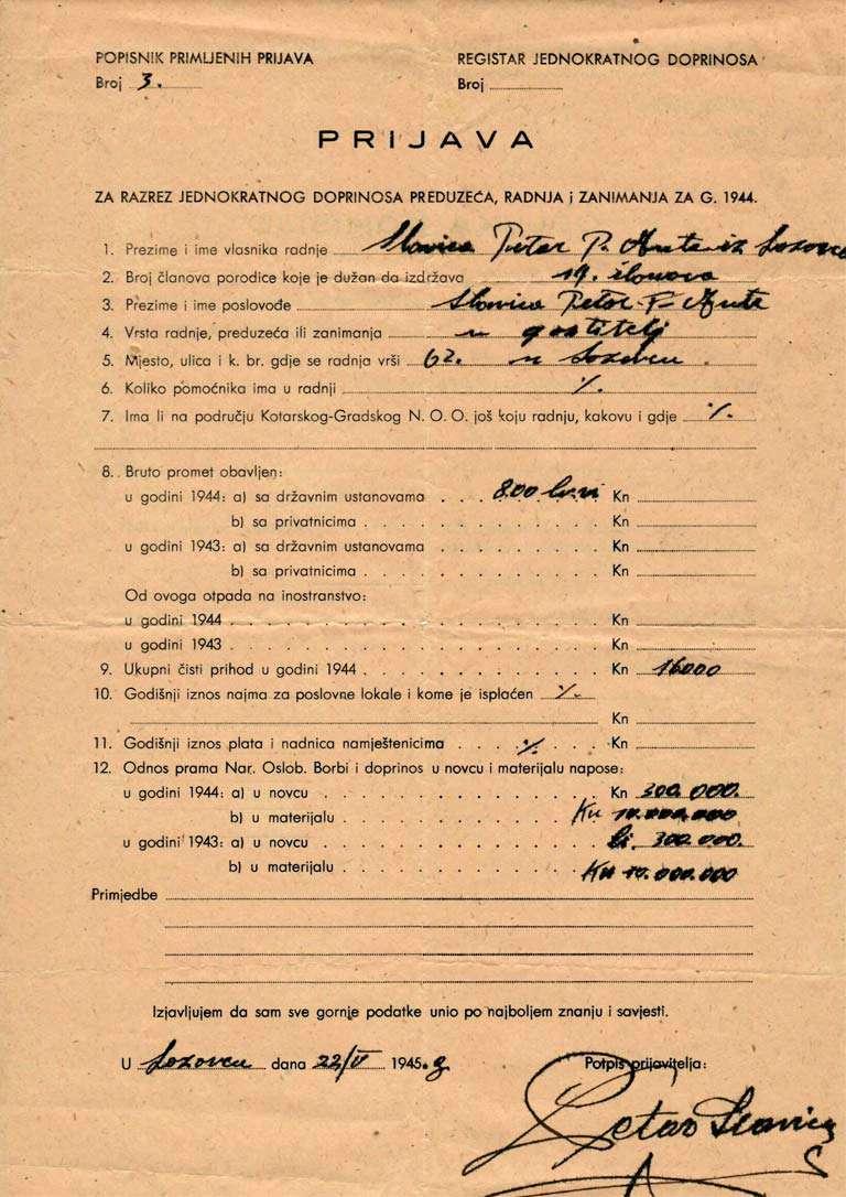 Prijava poreza 1944.